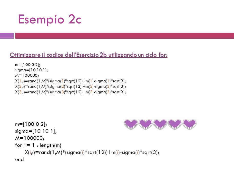 Esempio 2c Ottimizzare il codice dell'Esercizio 2b utilizzando un ciclo for: m=[100 0 2]; sigma=[10 10 1]; M=100000; for i = 1 : length(m) X(i,:)=rand(1,M)*(sigma(i)*sqrt(12))+m(i)-sigma(i)*sqrt(3); end m=[100 0 2]; sigma=[10 10 1]; M=100000; X(1,:)=rand(1,M)*(sigma(1)*sqrt(12))+m(1)-sigma(1)*sqrt(3); X(2,:)=rand(1,M)*(sigma(2)*sqrt(12))+m(2)-sigma(2)*sqrt(3); X(3,:)=rand(1,M)*(sigma(3)*sqrt(12))+m(3)-sigma(3)*sqrt(3);