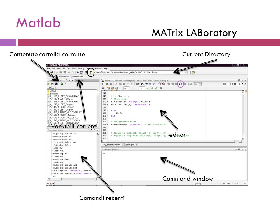 MATrix LABoratory Command window Current Directory Comandi recenti Variabili correnti Contenuto cartella corrente editor