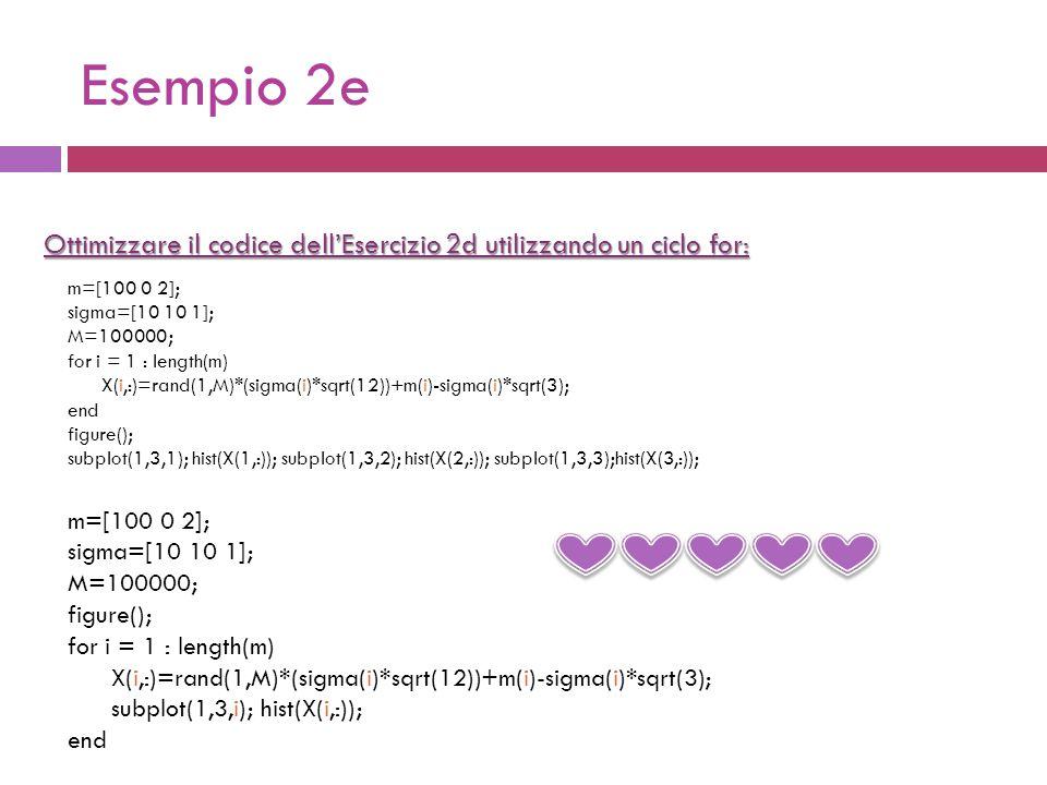 Esempio 2e Ottimizzare il codice dell'Esercizio 2d utilizzando un ciclo for: m=[100 0 2]; sigma=[10 10 1]; M=100000; figure(); for i = 1 : length(m) X(i,:)=rand(1,M)*(sigma(i)*sqrt(12))+m(i)-sigma(i)*sqrt(3); subplot(1,3,i); hist(X(i,:)); end m=[100 0 2]; sigma=[10 10 1]; M=100000; for i = 1 : length(m) X(i,:)=rand(1,M)*(sigma(i)*sqrt(12))+m(i)-sigma(i)*sqrt(3); end figure(); subplot(1,3,1); hist(X(1,:)); subplot(1,3,2); hist(X(2,:)); subplot(1,3,3);hist(X(3,:));