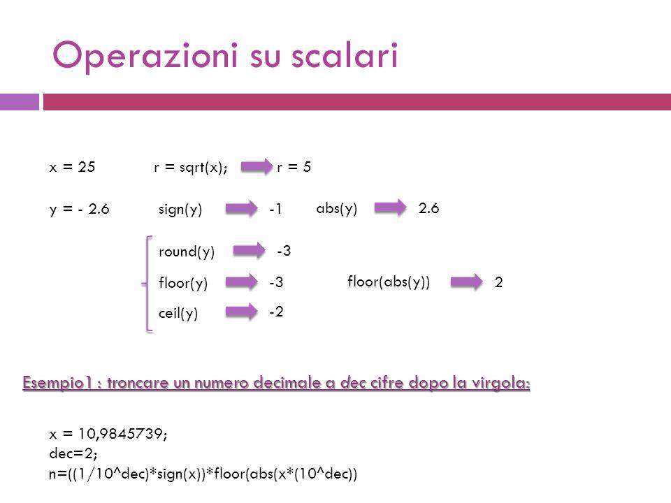 Operazioni su scalari x = 25r = sqrt(x);r = 5 y = - 2.6sign(y) floor(y) abs(y) -3 round(y) -3 ceil(y) -2 2.6 floor(abs(y)) 2 x = 10,9845739; dec=2; n=((1/10^dec)*sign(x))*floor(abs(x*(10^dec)) Esempio1 : troncare un numero decimale a dec cifre dopo la virgola:
