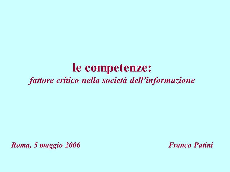 le competenze: fattore critico nella società dell'informazione Roma, 5 maggio 2006 Franco Patini