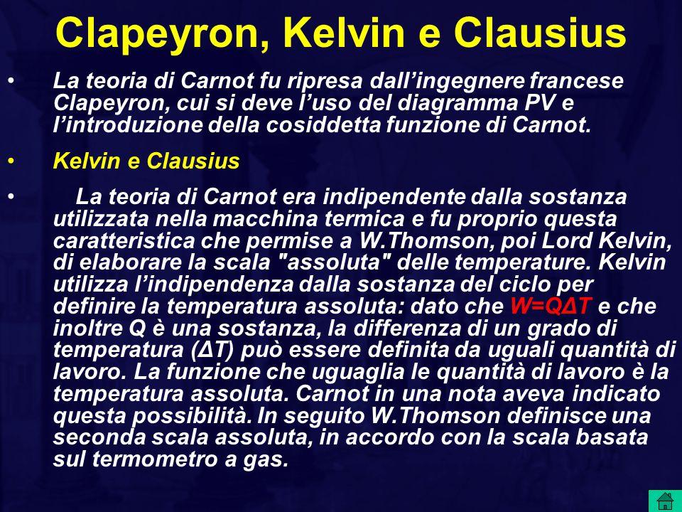Clapeyron, Kelvin e Clausius La teoria di Carnot fu ripresa dall'ingegnere francese Clapeyron, cui si deve l'uso del diagramma PV e l'introduzione del