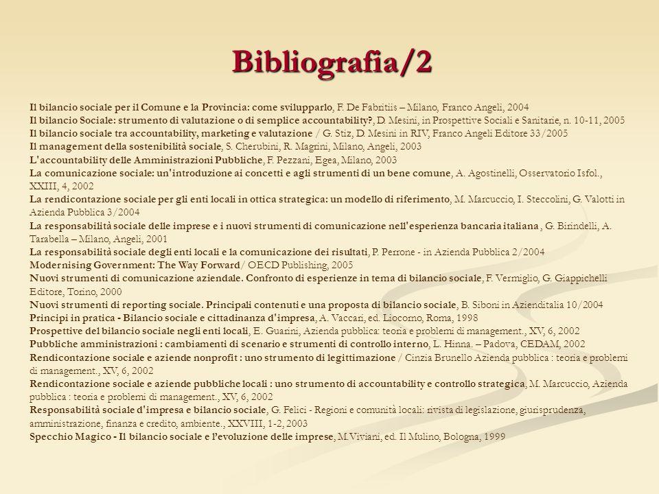 Bibliografia/2 Il bilancio sociale per il Comune e la Provincia: come svilupparlo, F. De Fabritiis – Milano, Franco Angeli, 2004 Il bilancio Sociale: