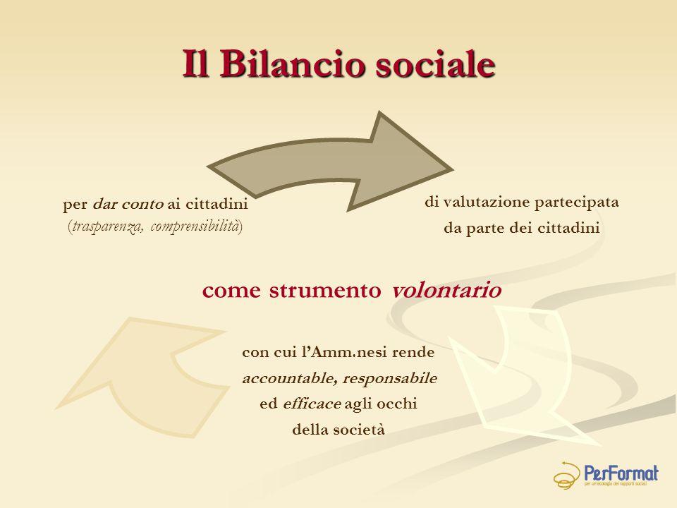Il Bilancio sociale come strumento volontario di valutazione partecipata da parte dei cittadini con cui l'Amm.nesi rende accountable, responsabile ed