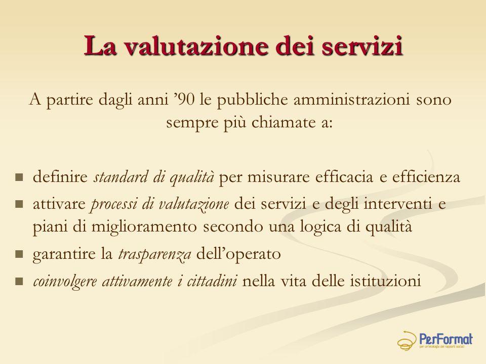 La valutazione dei servizi A partire dagli anni '90 le pubbliche amministrazioni sono sempre più chiamate a: definire standard di qualità per misurare