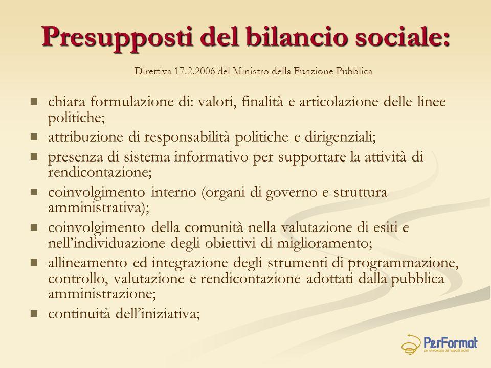 Presupposti del bilancio sociale: chiara formulazione di: valori, finalità e articolazione delle linee politiche; attribuzione di responsabilità polit