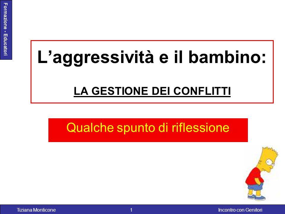 Incontro con GenitoriTiziana Monticone1 Formazione - Educatori L'aggressività e il bambino: LA GESTIONE DEI CONFLITTI Qualche spunto di riflessione