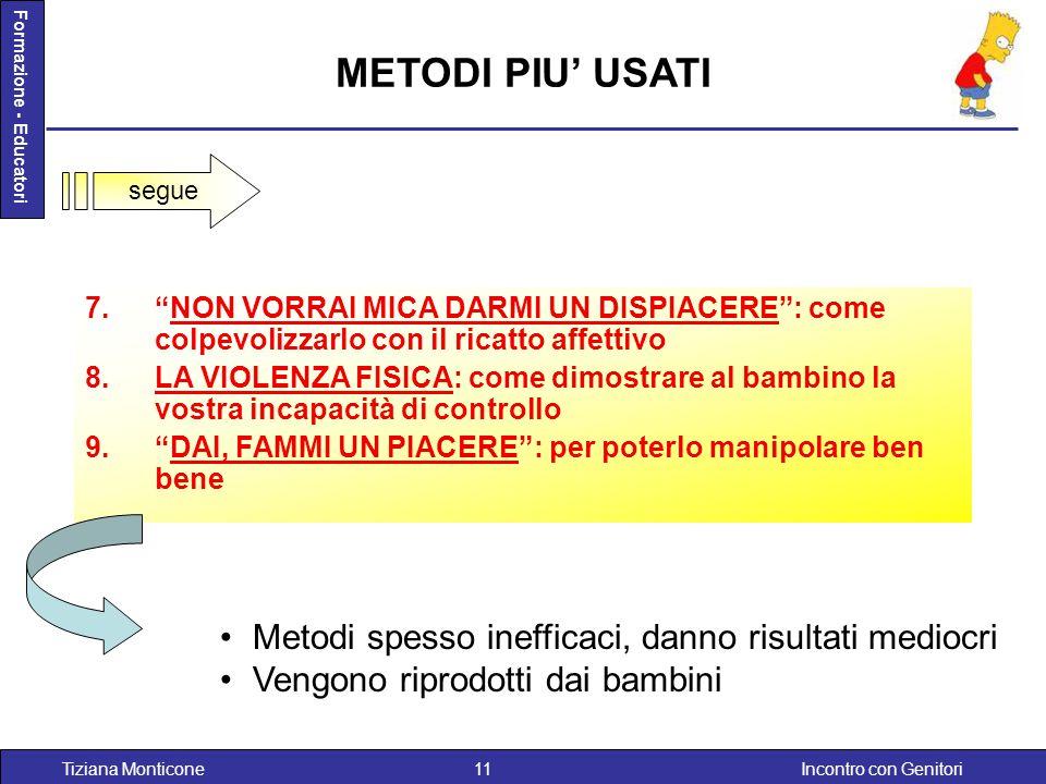 Incontro con GenitoriTiziana Monticone11 Formazione - Educatori METODI PIU' USATI Metodi spesso inefficaci, danno risultati mediocri Vengono riprodott