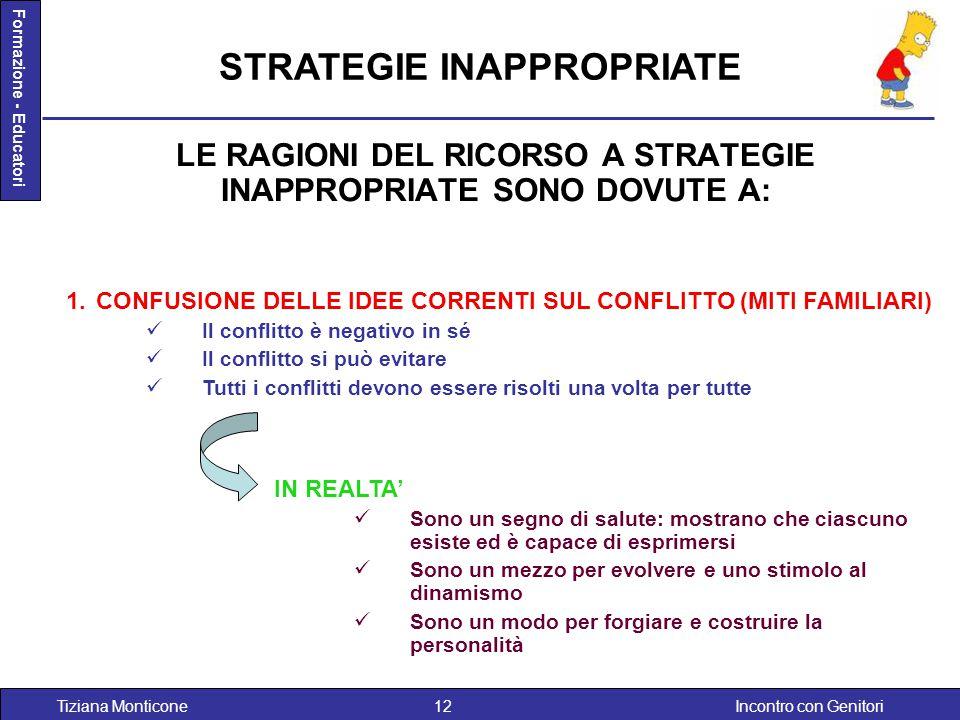 Incontro con GenitoriTiziana Monticone12 Formazione - Educatori LE RAGIONI DEL RICORSO A STRATEGIE INAPPROPRIATE SONO DOVUTE A: 1.CONFUSIONE DELLE IDE