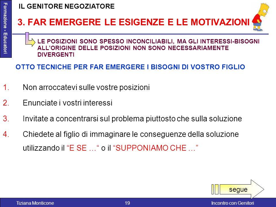 Incontro con GenitoriTiziana Monticone19 Formazione - Educatori 1.Non arroccatevi sulle vostre posizioni 2.Enunciate i vostri interessi 3.Invitate a c