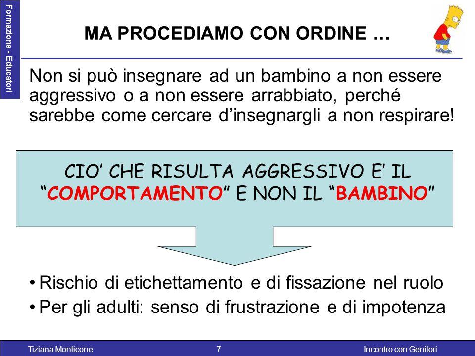 Incontro con GenitoriTiziana Monticone7 Formazione - Educatori Non si può insegnare ad un bambino a non essere aggressivo o a non essere arrabbiato, p