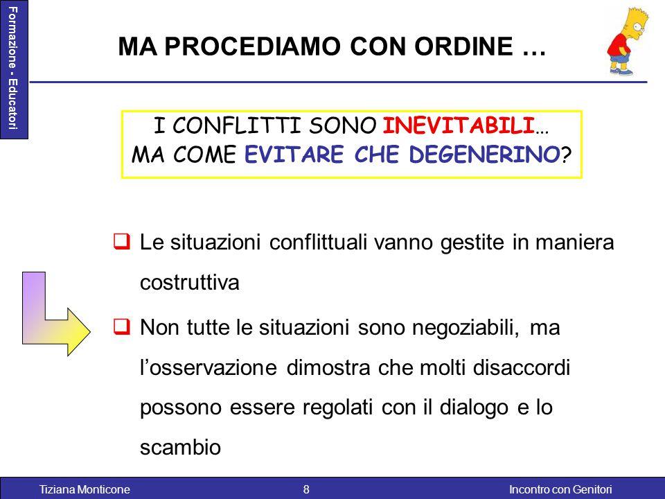 Incontro con GenitoriTiziana Monticone8 Formazione - Educatori I CONFLITTI SONO INEVITABILI… MA COME EVITARE CHE DEGENERINO? MA PROCEDIAMO CON ORDINE