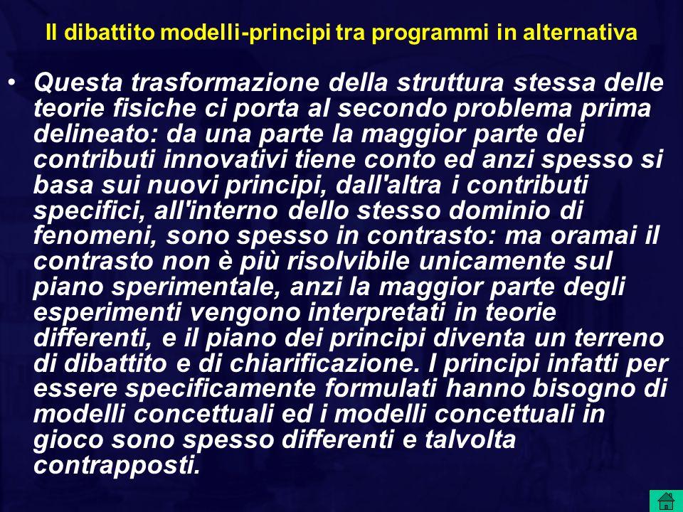Il dibattito modelli-principi tra programmi in alternativa Questa trasformazione della struttura stessa delle teorie fisiche ci porta al secondo probl