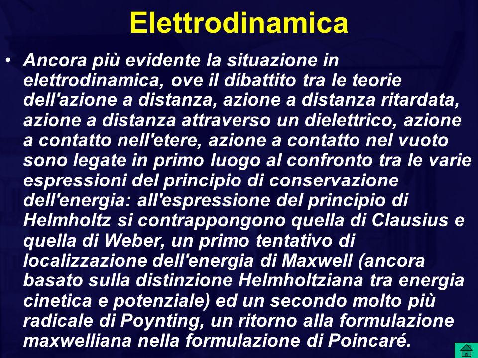 Elettrodinamica Ancora più evidente la situazione in elettrodinamica, ove il dibattito tra le teorie dell'azione a distanza, azione a distanza ritarda