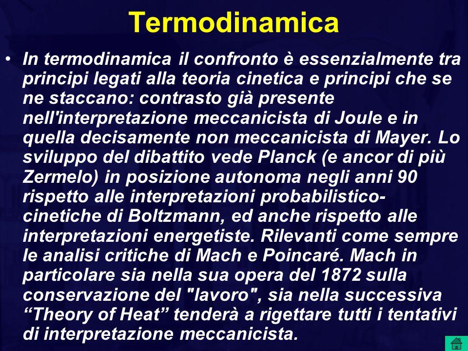 Termodinamica In termodinamica il confronto è essenzialmente tra principi legati alla teoria cinetica e principi che se ne staccano: contrasto già presente nell interpretazione meccanicista di Joule e in quella decisamente non meccanicista di Mayer.