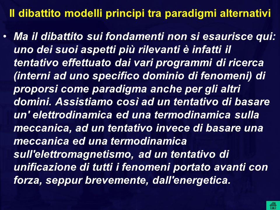 Il dibattito modelli principi tra paradigmi alternativi Ma il dibattito sui fondamenti non si esaurisce qui: uno dei suoi aspetti più rilevanti è infatti il tentativo effettuato dai vari programmi di ricerca (interni ad uno specifico dominio di fenomeni) di proporsi come paradigma anche per gli altri domini.