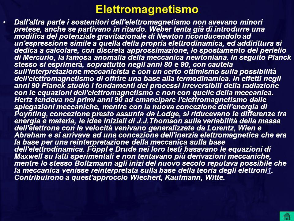 Elettromagnetismo Dall'altra parte i sostenitori dell'elettromagnetismo non avevano minori pretese, anche se partivano in ritardo. Weber tenta già di