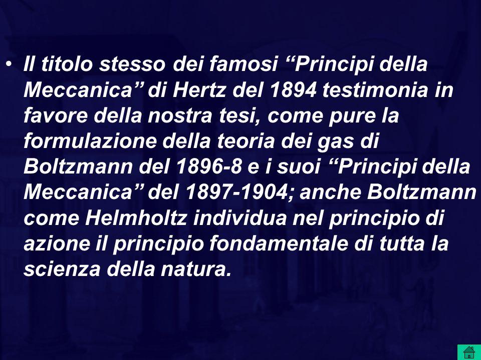 """Il titolo stesso dei famosi """"Principi della Meccanica"""" di Hertz del 1894 testimonia in favore della nostra tesi, come pure la formulazione della teori"""