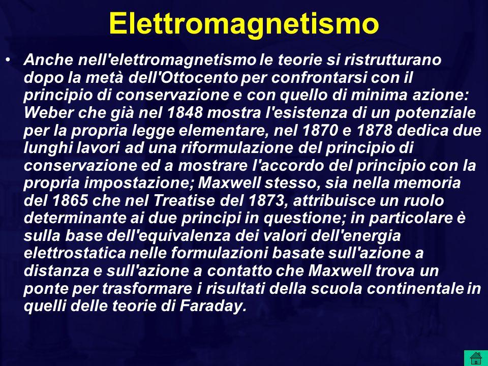 Elettromagnetismo Anche nell elettromagnetismo le teorie si ristrutturano dopo la metà dell Ottocento per confrontarsi con il principio di conservazione e con quello di minima azione: Weber che già nel 1848 mostra l esistenza di un potenziale per la propria legge elementare, nel 1870 e 1878 dedica due lunghi lavori ad una riformulazione del principio di conservazione ed a mostrare l accordo del principio con la propria impostazione; Maxwell stesso, sia nella memoria del 1865 che nel Treatise del 1873, attribuisce un ruolo determinante ai due principi in questione; in particolare è sulla base dell equivalenza dei valori dell energia elettrostatica nelle formulazioni basate sull azione a distanza e sull azione a contatto che Maxwell trova un ponte per trasformare i risultati della scuola continentale in quelli delle teorie di Faraday.
