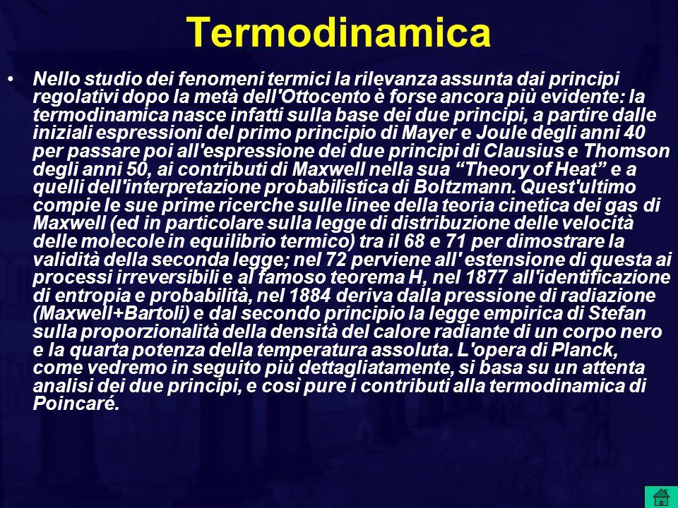 Termodinamica Nello studio dei fenomeni termici la rilevanza assunta dai principi regolativi dopo la metà dell Ottocento è forse ancora più evidente: la termodinamica nasce infatti sulla base dei due principi, a partire dalle iniziali espressioni del primo principio di Mayer e Joule degli anni 40 per passare poi all espressione dei due principi di Clausius e Thomson degli anni 50, ai contributi di Maxwell nella sua Theory of Heat e a quelli dell interpretazione probabilistica di Boltzmann.
