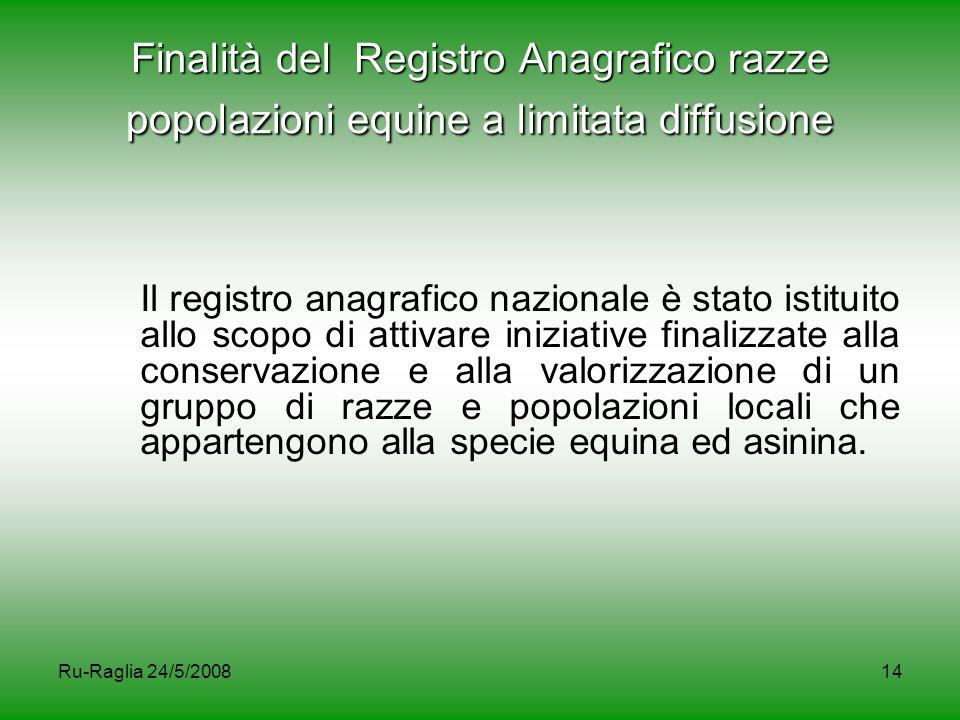 Ru-Raglia 24/5/200814 Finalità del Registro Anagrafico razze popolazioni equine a limitata diffusione Il registro anagrafico nazionale è stato istitui