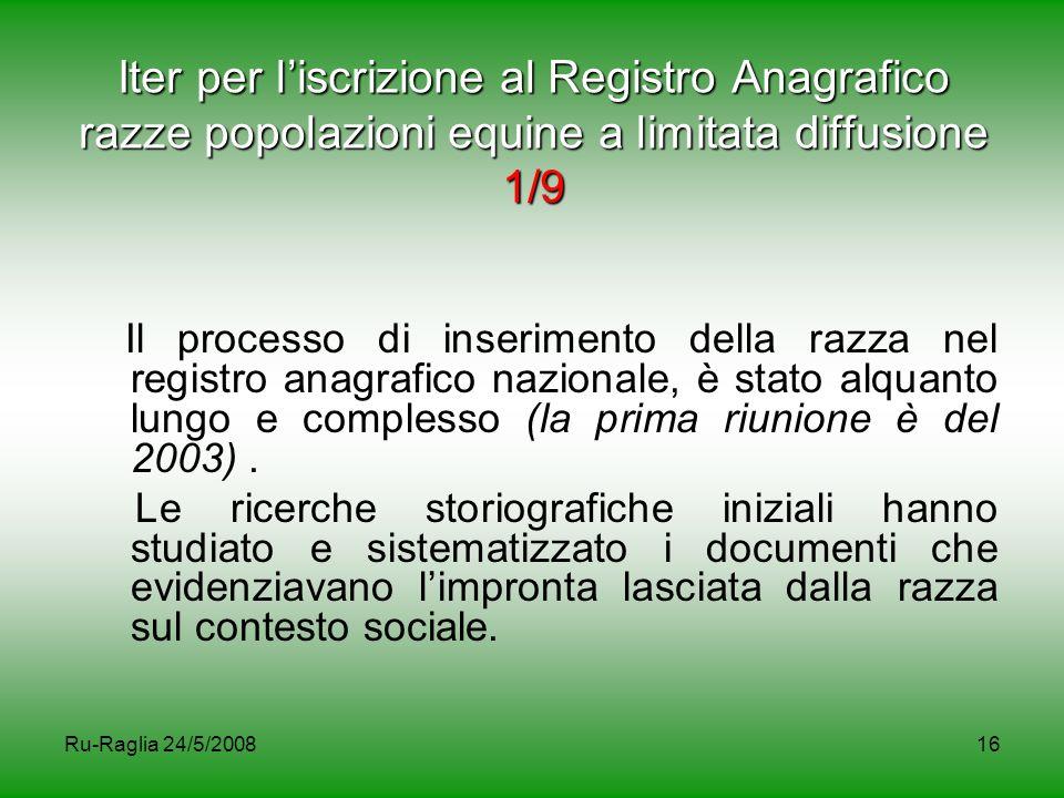Ru-Raglia 24/5/200816 Iter per l'iscrizione al Registro Anagrafico razze popolazioni equine a limitata diffusione 1/9 Il processo di inserimento della