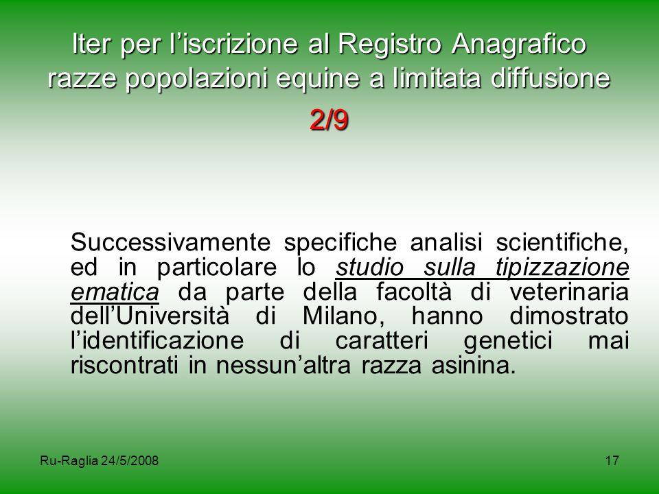 Ru-Raglia 24/5/200817 Iter per l'iscrizione al Registro Anagrafico razze popolazioni equine a limitata diffusione 2/9 Successivamente specifiche anali