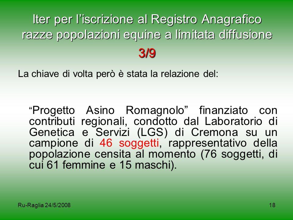 Ru-Raglia 24/5/200818 Iter per l'iscrizione al Registro Anagrafico razze popolazioni equine a limitata diffusione 3/9 La chiave di volta però è stata