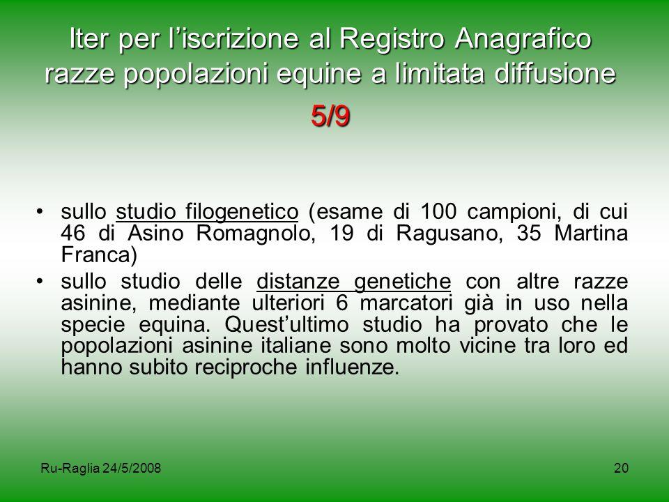 Ru-Raglia 24/5/200820 Iter per l'iscrizione al Registro Anagrafico razze popolazioni equine a limitata diffusione 5/9 sullo studio filogenetico (esame