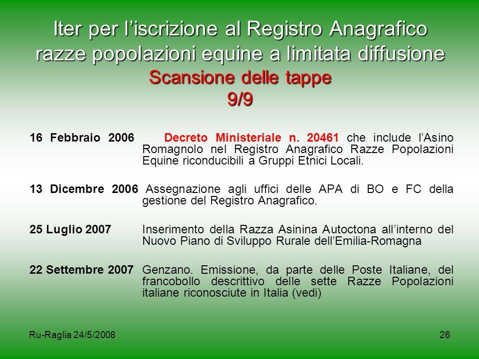 Ru-Raglia 24/5/200826 Iter per l'iscrizione al Registro Anagrafico razze popolazioni equine a limitata diffusione Scansione delle tappe 9/9 16 Febbrai
