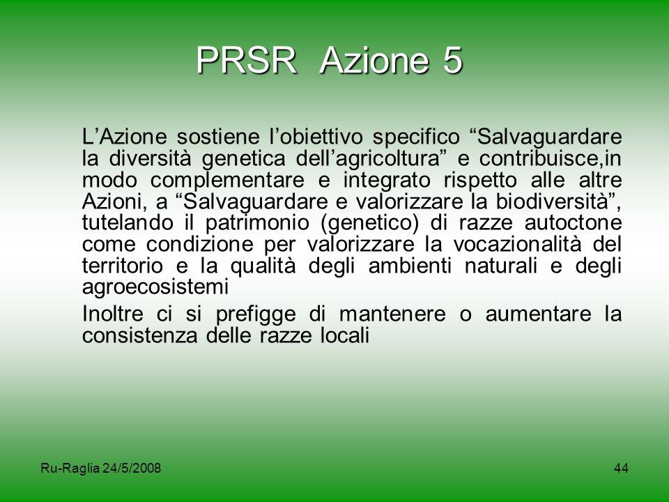 """Ru-Raglia 24/5/200844 PRSR Azione 5 L'Azione sostiene l'obiettivo specifico """"Salvaguardare la diversità genetica dell'agricoltura"""" e contribuisce,in m"""