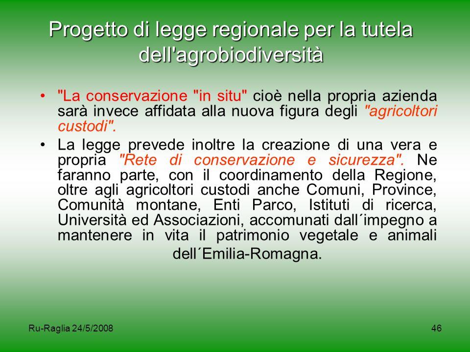 Ru-Raglia 24/5/200846 Progetto di legge regionale per la tutela dell'agrobiodiversità