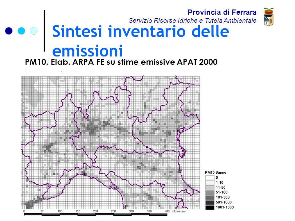 Sintesi inventario delle emissioni Provincia di Ferrara Servizio Risorse Idriche e Tutela Ambientale PM10.