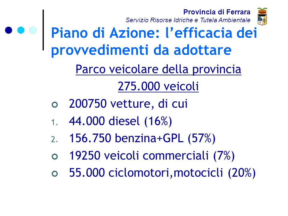 Piano di Azione: l'efficacia dei provvedimenti da adottare Parco veicolare della provincia 275.000 veicoli 200750 vetture, di cui 1.