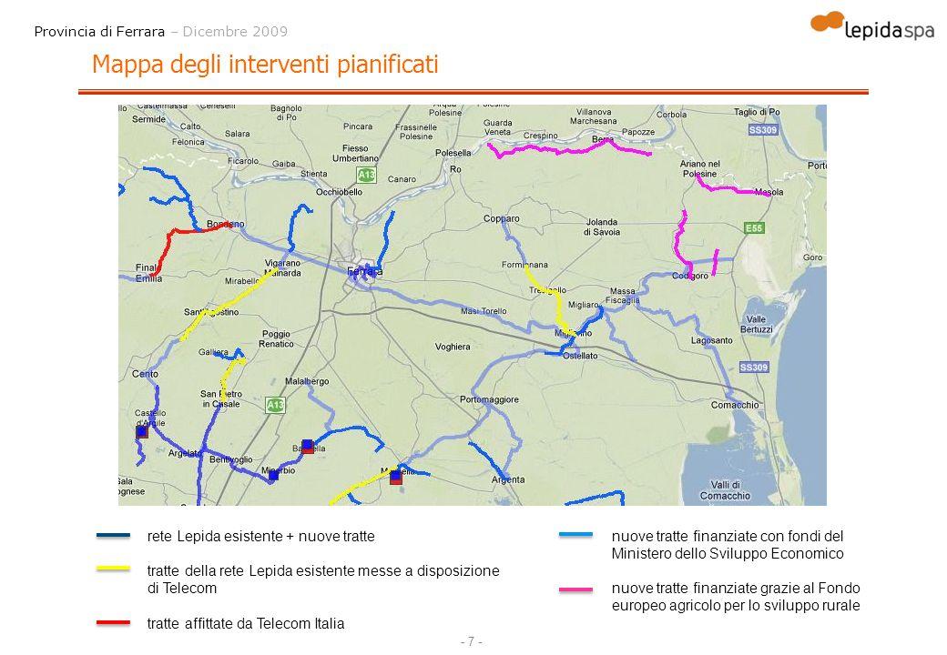 - 8 - Provincia di Ferrara – Dicembre 2009 Tratte esistenti della rete Lepida affittate a Telecom BacinoTratta rete Lepida che verrà utilizzata nel progetto Infratel-Lepida SpAkm FE-12Dosso - S.