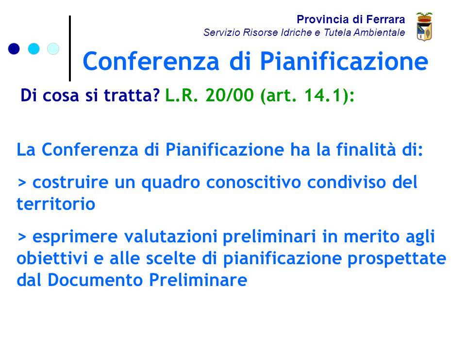 Conferenza di Pianificazione Provincia di Ferrara Servizio Risorse Idriche e Tutela Ambientale Di cosa si tratta.