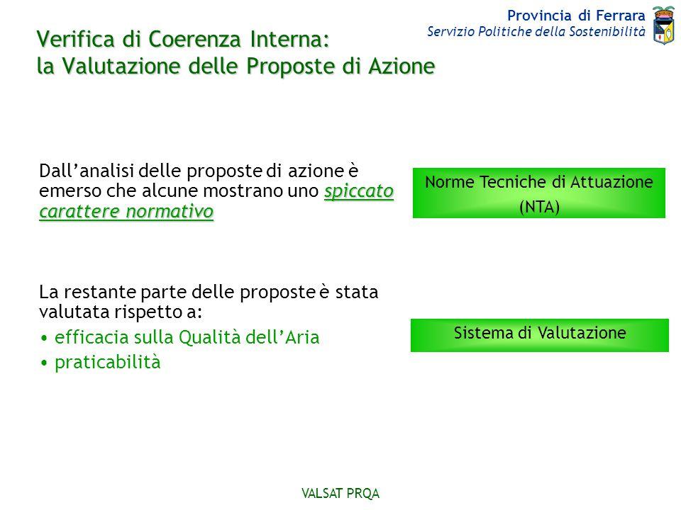 Provincia di Ferrara Servizio Politiche della Sostenibilità VALSAT PRQA Verifica di Coerenza Interna: la Valutazione delle Proposte di Azione spiccato