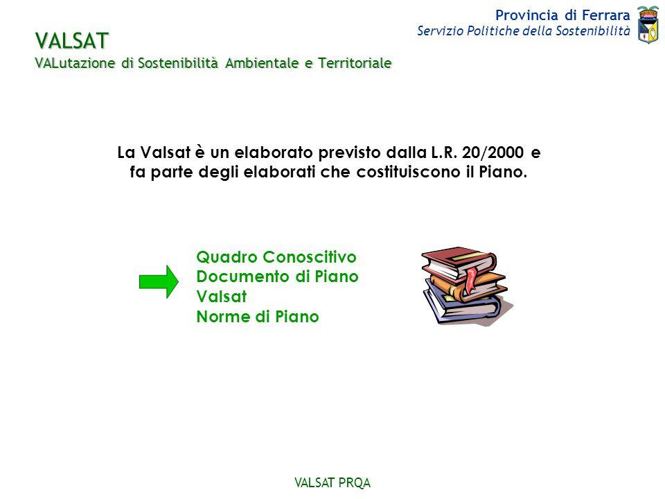 Provincia di Ferrara Servizio Politiche della Sostenibilità VALSAT PRQA Scopo della VALSAT stabilire la coerenza generale del piano finalizzata al raggiungimento degli obiettivi di sostenibilità ambientale Su cosa si basa.