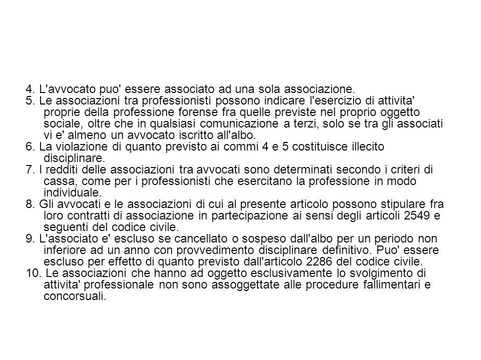 4. L avvocato puo essere associato ad una sola associazione.