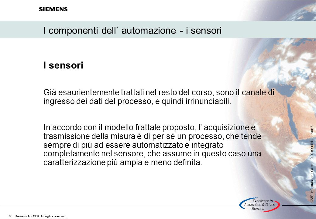 Excellencein Automation&Drives: Siemens A A&D MC, masserini98.ppt, 10.09.99, slide 11 von 8 Siemens AG 1998.