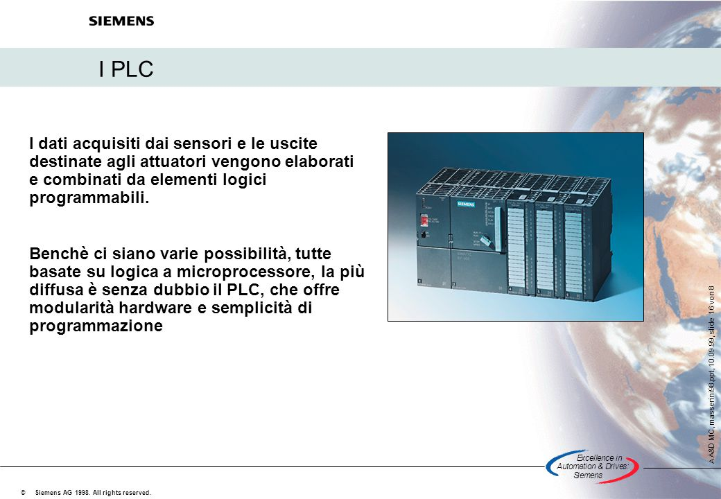 Excellencein Automation&Drives: Siemens A A&D MC, masserini98.ppt, 10.09.99, slide 16 von 8 Siemens AG 1998. All rights reserved. © I PLC I dati acqui