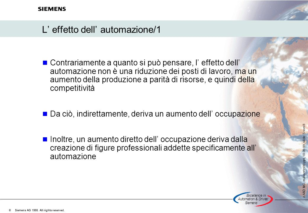 Excellencein Automation&Drives: Siemens A A&D MC, masserini98.ppt, 10.09.99, slide 5 von 8 Siemens AG 1998. All rights reserved. © L' effetto dell' au