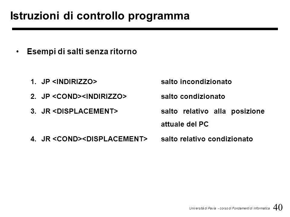 40 Università di Pavia - corso di Fondamenti di Informatica Istruzioni di controllo programma Esempi di salti senza ritorno 1.JP salto incondizionato