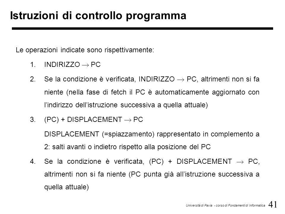 41 Università di Pavia - corso di Fondamenti di Informatica Istruzioni di controllo programma Le operazioni indicate sono rispettivamente: 1.INDIRIZZO