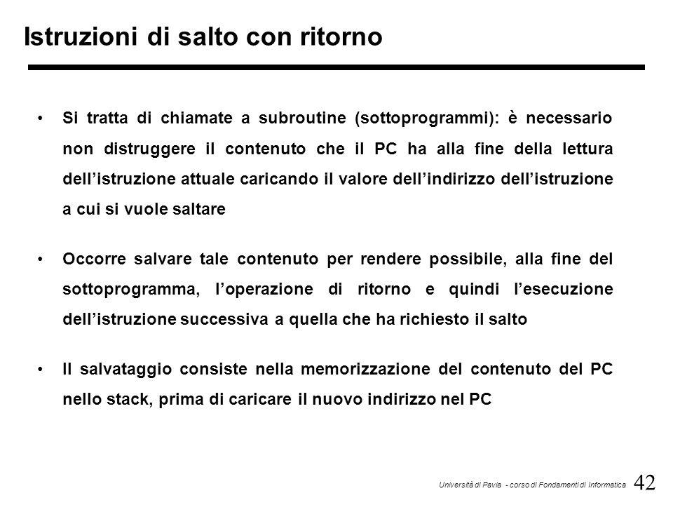 42 Università di Pavia - corso di Fondamenti di Informatica Istruzioni di salto con ritorno Si tratta di chiamate a subroutine (sottoprogrammi): è nec
