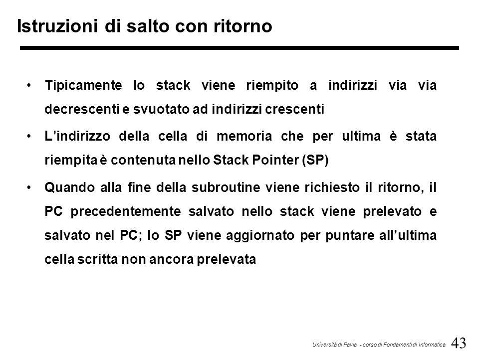 43 Università di Pavia - corso di Fondamenti di Informatica Istruzioni di salto con ritorno Tipicamente lo stack viene riempito a indirizzi via via de