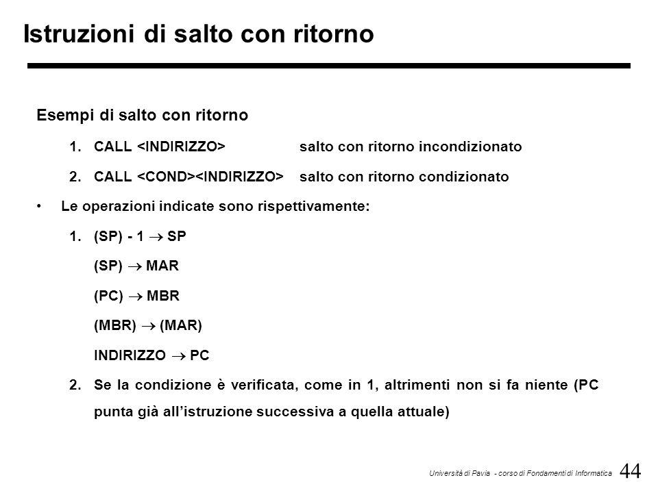 44 Università di Pavia - corso di Fondamenti di Informatica Istruzioni di salto con ritorno Esempi di salto con ritorno 1.CALL salto con ritorno incon