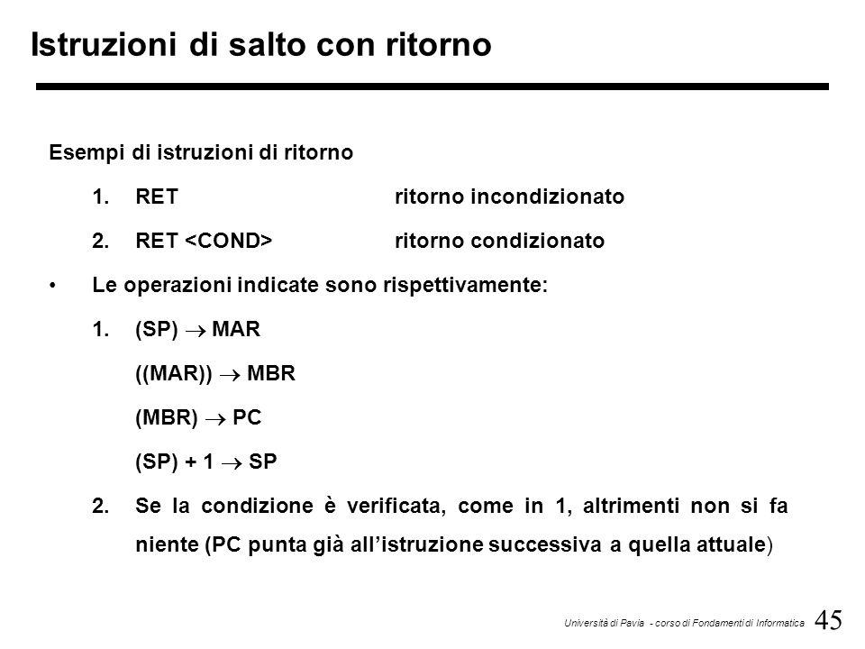 45 Università di Pavia - corso di Fondamenti di Informatica Istruzioni di salto con ritorno Esempi di istruzioni di ritorno 1.RETritorno incondizionat