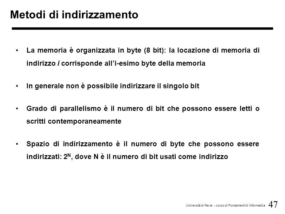 47 Università di Pavia - corso di Fondamenti di Informatica Metodi di indirizzamento La memoria è organizzata in byte (8 bit): la locazione di memoria