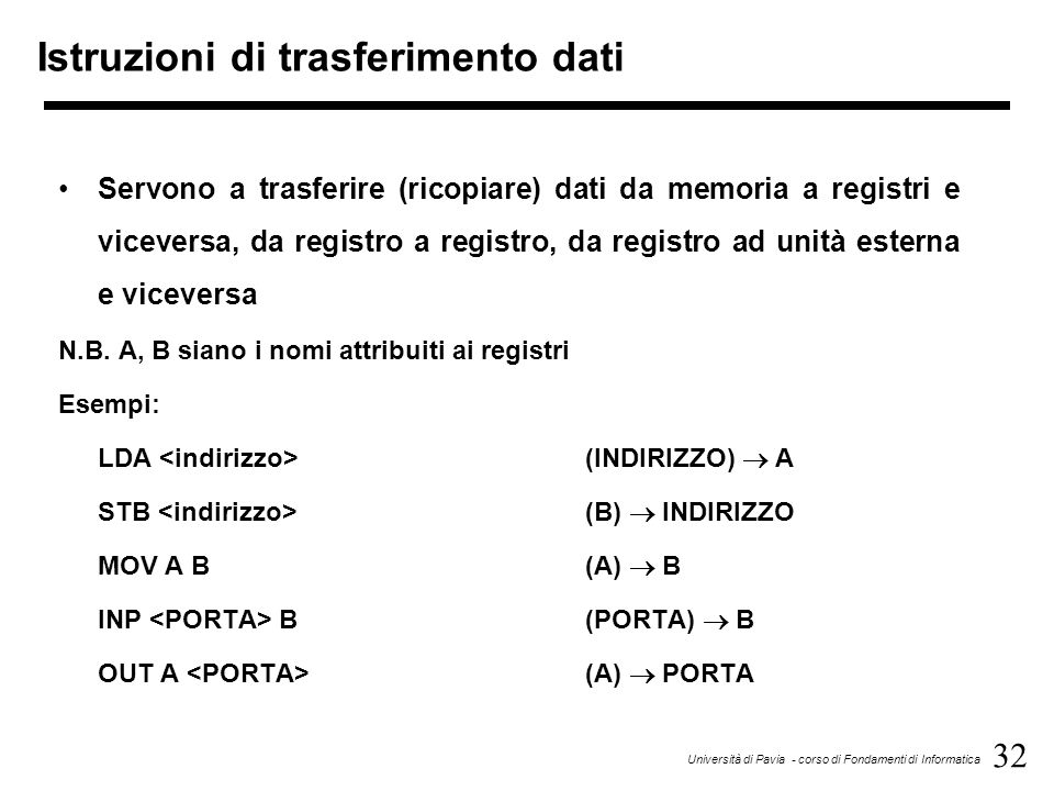 32 Università di Pavia - corso di Fondamenti di Informatica Istruzioni di trasferimento dati Servono a trasferire (ricopiare) dati da memoria a regist